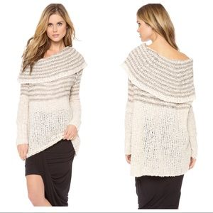 Free People Chunky Knit Ivory Cowl Sweater Tunic S